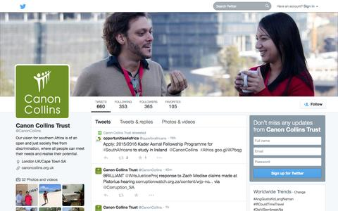 Screenshot of Twitter Page twitter.com - Canon Collins Trust (@CanonCollins) | Twitter - captured Oct. 22, 2014