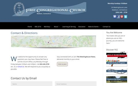 Screenshot of Contact Page Maps & Directions Page fccmadison.org - Contact FCC - First Congregational Church of Madison - captured June 14, 2016