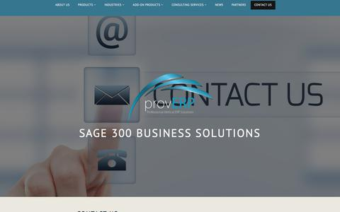 Screenshot of Contact Page wordpress.com - Contact Us – Sage 300 Business Solutions - captured July 24, 2018
