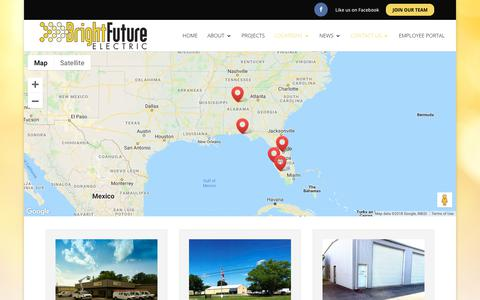 Screenshot of Contact Page Locations Page brightfutureelectric.com - Locations | Bright Future Electric - captured Nov. 6, 2018