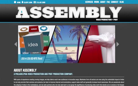 Screenshot of Home Page assemblypix.com - Assembly - Philadelphia Area Video Production + Video Post-Production Company - captured Oct. 4, 2014