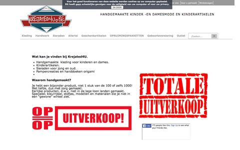 Screenshot of Home Page krejated4u.be - KREJATED4U Handgemaakte mode -en kinderartikelen - captured May 28, 2016