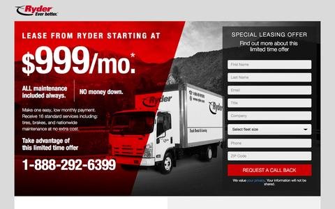 Screenshot of Landing Page ryder.com - Lease an Isuzu truck from Ryder starting at $999 – Maintenance included - captured Aug. 26, 2016