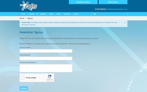 Screenshot of Signup Page review-displays.co.uk - Newsletter Signup - Review Display Systems Ltd - captured Oct. 22, 2017