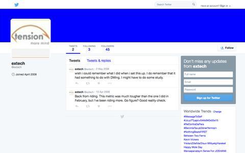 Screenshot of Twitter Page twitter.com - extech (@extech) | Twitter - captured Oct. 23, 2014