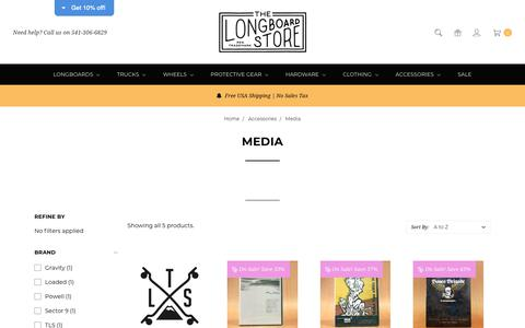 Screenshot of Press Page thelongboardstore.com - Accessories - Media - The Longboard Store - captured Nov. 7, 2018