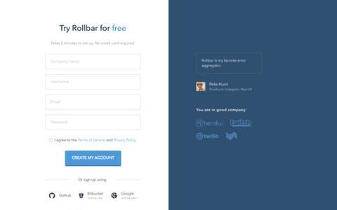 Screenshot of Signup Page rollbar.com - Rollbar - Sign up - captured Oct. 2, 2015