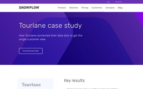 Screenshot of Case Studies Page snowplowanalytics.com - Snowplow | Tourlane Study - captured Feb. 10, 2020