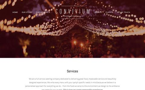 Screenshot of Services Page conviviumcatering.com - Our Approach — Convivium - captured Oct. 8, 2016