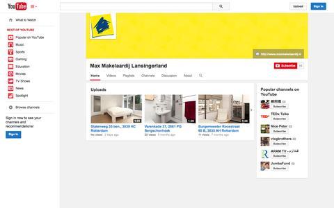 Screenshot of YouTube Page youtube.com - Max Makelaardij Lansingerland  - YouTube - captured Oct. 22, 2014