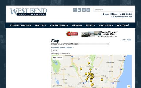 Screenshot of Maps & Directions Page wbachamber.org - Map - WEST BEND AREA CHAMBER OF COMMERCE INC., WI - captured Nov. 29, 2016