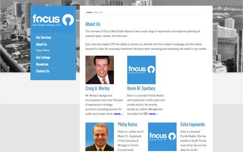 Screenshot of About Page focusrealestateadvisors.com - About Us | Focus Real Estate Advisors | Real Estate Consulting and Brokerage Services in South Florida - captured Oct. 6, 2014