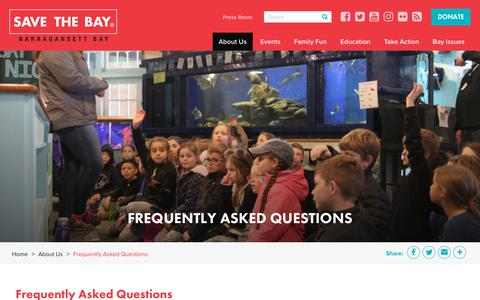 Screenshot of FAQ Page savebay.org - Frequently Asked Questions | Save The Bay - captured Nov. 12, 2018