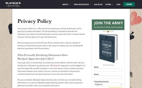 Screenshot of Privacy Page blackjackapprenticeship.com - Privacy Policy - Blackjack Apprenticeship - captured July 29, 2016
