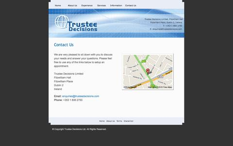 Screenshot of Contact Page trusteedecisions.com - Trustee Decisions Ltd. - captured Oct. 1, 2014