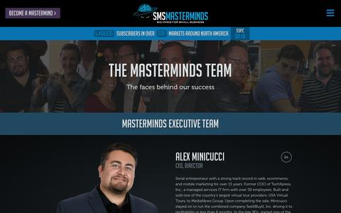 Screenshot of Team Page smsmasterminds.com - Our Team - Discover the masterminds behind the scenes. - captured Dec. 19, 2015