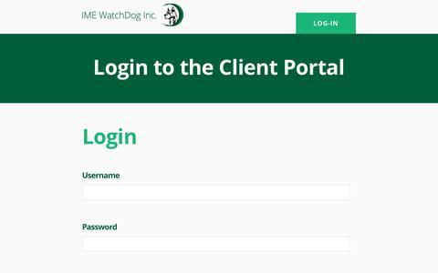 Screenshot of Login Page imewatchdog.com - Log In - IME Watchdog Inc - captured Oct. 1, 2018