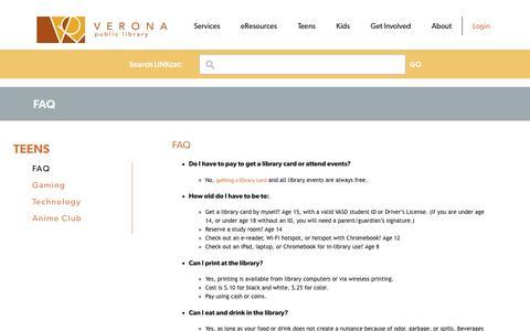 Screenshot of FAQ Page veronapubliclibrary.org - FAQ | Verona Public Library - captured Sept. 20, 2018
