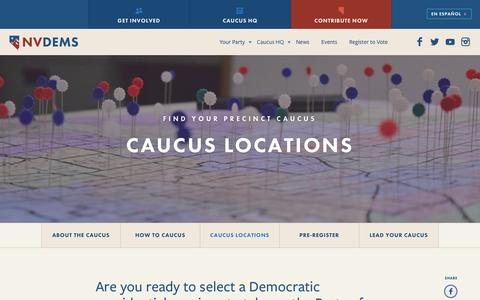 Screenshot of Locations Page nvdems.com - Caucus Locations - NVDems - captured Feb. 14, 2016