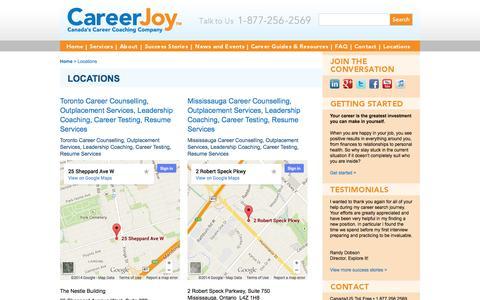 Screenshot of Locations Page careerjoy.com - Locations | CareerJoy - captured Oct. 10, 2014
