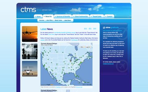 Screenshot of Press Page ctmstravel.com - Travel Alerts - ctms - Corporate Travel Management Solutions - captured Oct. 1, 2014