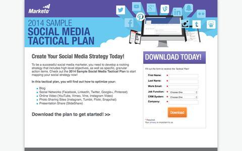 Screenshot of Landing Page marketo.com - 2014 Sample Social Media Tactical Plan - captured April 21, 2016