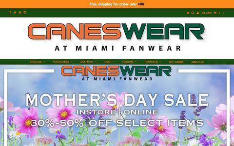 Screenshot of Home Page caneswear.com - CanesWear at Miami FanWear - captured May 14, 2017