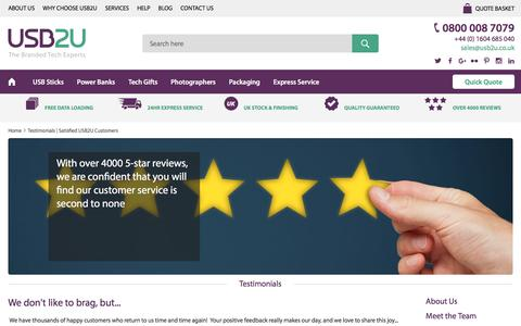 Screenshot of Testimonials Page usb2u.co.uk - Testimonials | Satisfied USB2U Customers - captured July 23, 2016