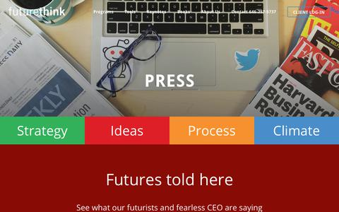 Screenshot of Press Page futurethink.com - Press Archive - futurethink - captured Nov. 4, 2018