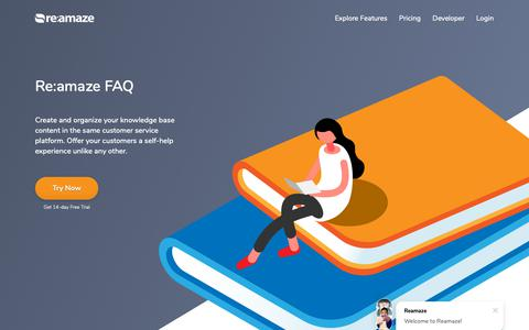 Screenshot of FAQ Page reamaze.com - Re:amaze FAQ | Try Re:amaze - captured Sept. 28, 2018