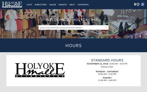Screenshot of Hours Page holyokemall.com - Hours – Holyoke Mall - captured Nov. 11, 2016