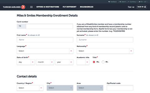 Screenshot of Signup Page turkishairlines.com - Miles&Smiles Application Form | Turkish Airlines ® - captured Sept. 21, 2018