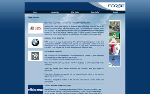 Screenshot of Case Studies Page f10marketing.com - Case Studies : Force 10 Marketing - captured Oct. 6, 2014