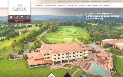 Screenshot of Home Page Menu Page nemacolin.com - Pennsylvania Resorts | Nemacolin Woodlands Resort | Pennsylvania Luxury Resorts - captured Sept. 24, 2014
