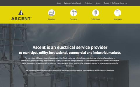 Screenshot of Home Page ascent.ca - Ascent - Electrical Contracting Services in Ontario - captured Feb. 6, 2016
