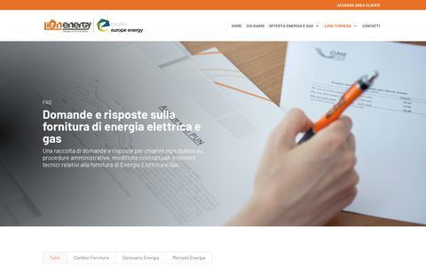 Screenshot of FAQ Page lionenergy.it - Informazioni sulla fornitura di energia elettrica e gas - Lion Energy - Venezia - captured Nov. 5, 2018