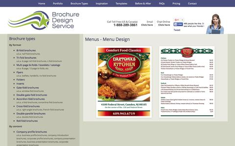 Screenshot of Menu Page brochuredesignservice.com - Menu Design - Designers, Samples, Templates, Layout - captured Jan. 7, 2016