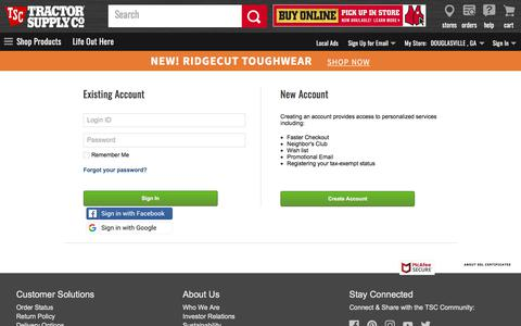 Screenshot of Login Page tractorsupply.com - Sign In - captured Aug. 18, 2019