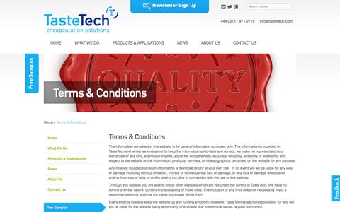 Screenshot of Terms Page tastetech.com - TasteTech - specialist manufacturer of Control Release Flavourings and Ingredients - captured Oct. 6, 2014