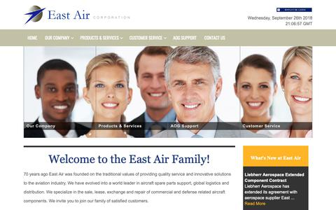 Screenshot of Home Page eastair.com - East Air Corporation :: East Air - captured Sept. 26, 2018