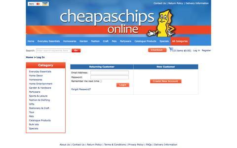 Screenshot of Login Page cheapaschips.com.au - Login : Cheap as Chips - Cheap Online Shopping - captured Sept. 24, 2014