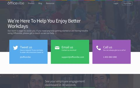 Screenshot of Support Page officevibe.com - Help & Support - captured Oct. 3, 2015