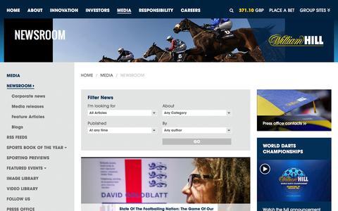 Screenshot of Press Page williamhillplc.com - William Hill PLC: Newsroom             - Media - captured Dec. 16, 2015