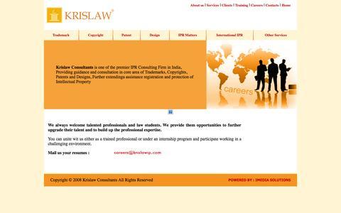 Screenshot of Jobs Page krislawip.com - Krislaw Consultants - Trademark, Copyright, Patent, Design, IPR Matters, International IPR, Formation of Company, Pvt, Ltd, Registration of Firms, Partnership, Registration of Trusts, Society, Association, ISO Certification - captured Oct. 27, 2014