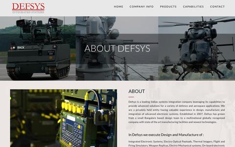 Screenshot of About Page defsys.co.in - About - DEFSYS - captured Feb. 8, 2016