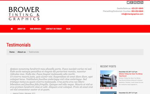 Screenshot of Testimonials Page tintandgraphics.com - Testimonials | Brower Tinting & Graphics - WA - captured Oct. 6, 2018