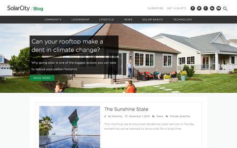 Screenshot of Blog solarcity.com - SolarCity | Solar Energy Blog - captured Dec. 7, 2016
