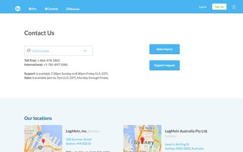 Screenshot of Support Page logmein.com - Contact us - captured Dec. 24, 2016