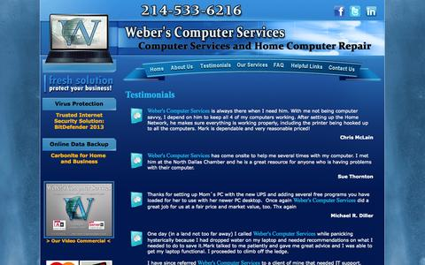 Screenshot of Testimonials Page weberscomputers.com - Weber's Computer Services | Repair | Upgrade | Virus Removal | Networking | Dallas, TX - captured Oct. 7, 2014