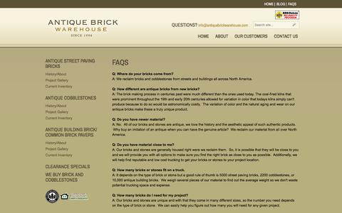 Screenshot of FAQ Page antiquebrickwarehouse.com - FAQs | Antique Brick Warehouse - captured May 30, 2017